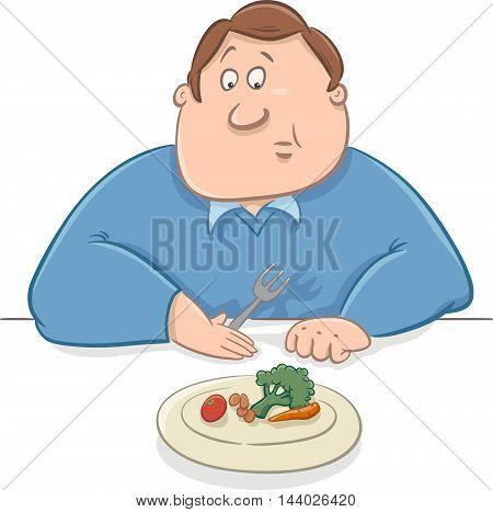 Sad Man On Diet Cartoon