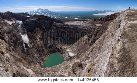 Gorely's second crater lake and it's impressive glacier above, Kamchatka, Russia