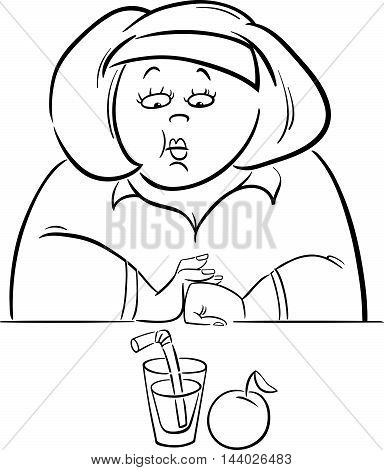 Woman On Diet Drawing