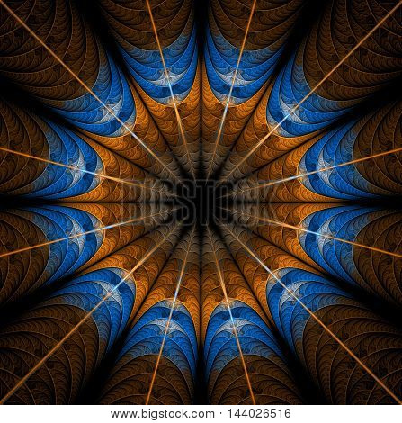 Abstract mandala on black background. Symmetrical pattern in brown blue colors. Fantasy fractal design