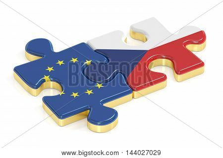 Czech Republic and EU puzzles from flags 3D rendering