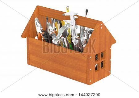 Wooden toolbox with tools 3D rendering isolated on white background