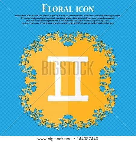 Gemini Icon. Floral Flat Design On A Blue Abstract Background With Place For Your Text. Vector