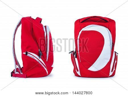 sports backpack standing on a white background