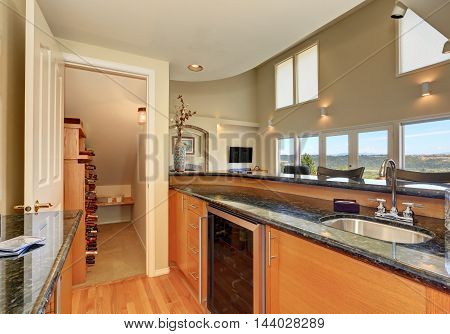 Modern Style Kitchen Interior With Wine Storage Room