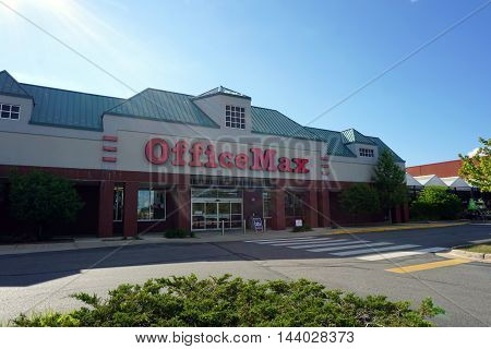 PETOSKEY, MICHIGAN / UNITED STATES - AUGUST 1, 2016: The OfficeMax store sells office supplies in Petoskey's Bear Creek Plaza.