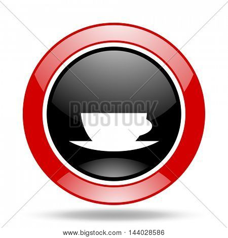 espresso round glossy red and black web icon