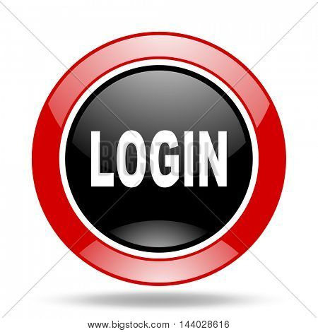 login round glossy red and black web icon