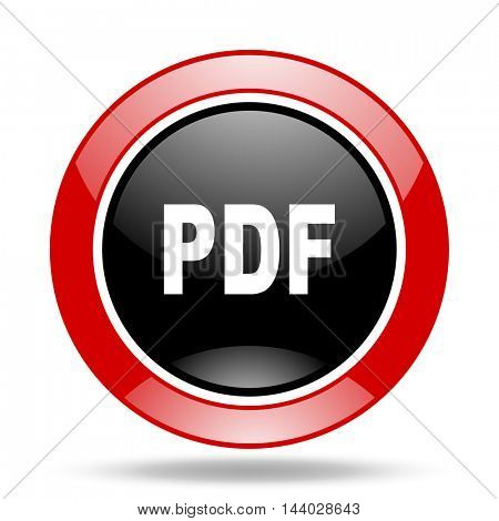 pdf round glossy red and black web icon