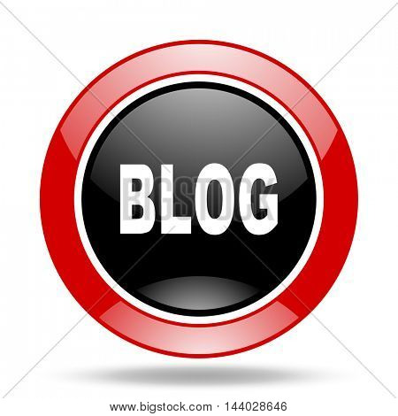 blog round glossy red and black web icon