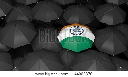 Umbrella background.3D rendering of bright country flag umbrella over black.