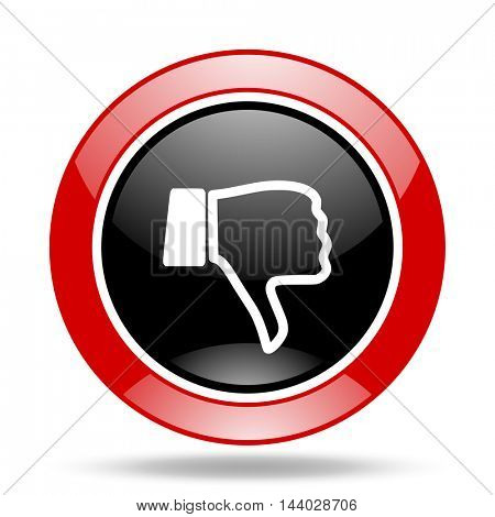 dislike round glossy red and black web icon