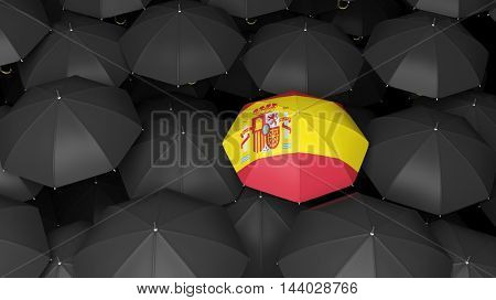 Top view of 3d rendered colorful umbrella with country flag over black background