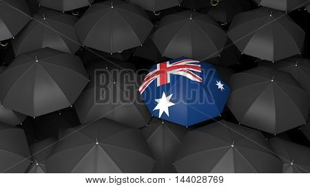 3D rendered black umbrellas with bright umbrella with New Zealand flag over it