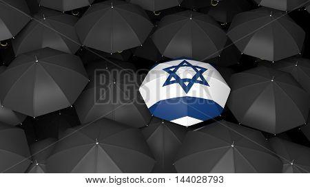 Top view of 3d rendering of umbrella with jewish flag on black umbrellas