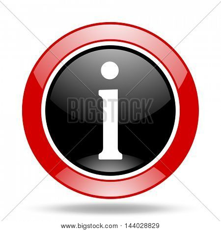 information round glossy red and black web icon