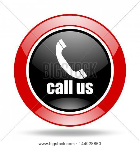 call us round glossy red and black web icon