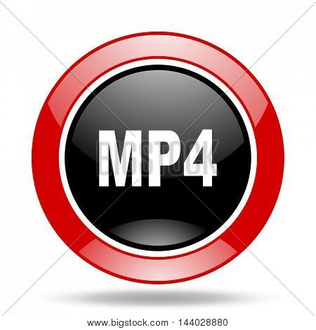 mp4 round glossy red and black web icon