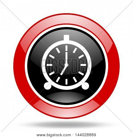 alarm round glossy red and black web icon