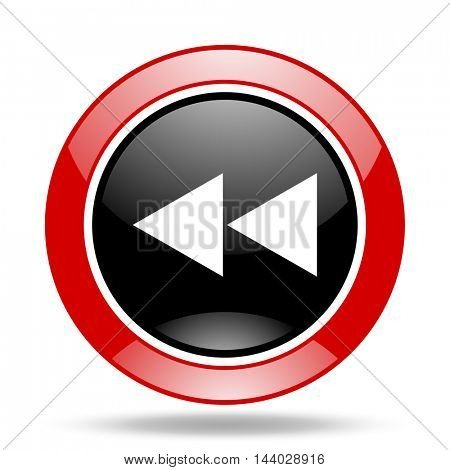 rewind round glossy red and black web icon