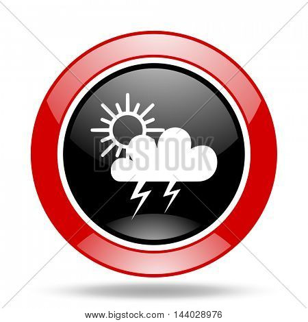 storm round glossy red and black web icon