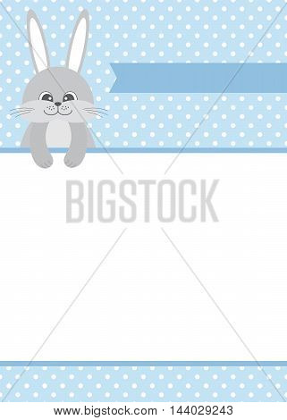 Vector baby bunny card with the frame