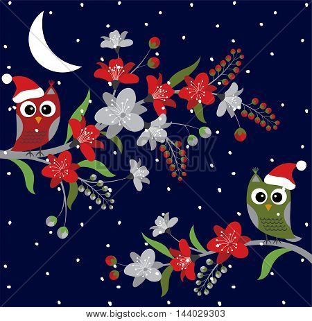 Vector Christmas owls on floral branches with dark snow background