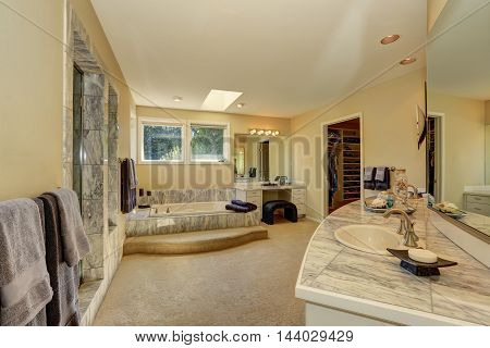 Master Marble Bathroom Interior With Walk-in Closet