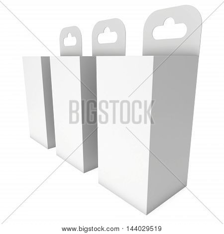 White paper hanging box group. Packaging container with hanging hole. Mock up template. 3d render isolated on white background.