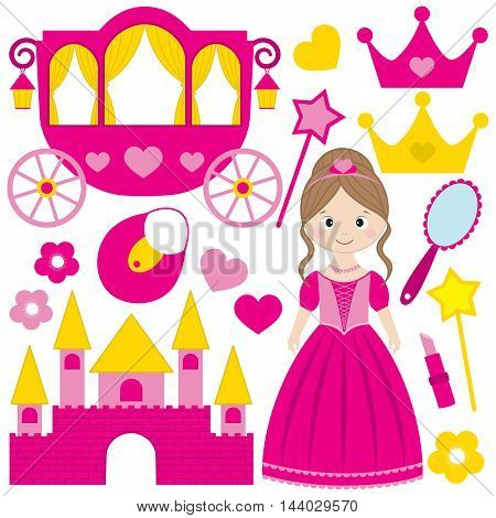 Vector pink princess set with castle tiara hearts mirror and crowns
