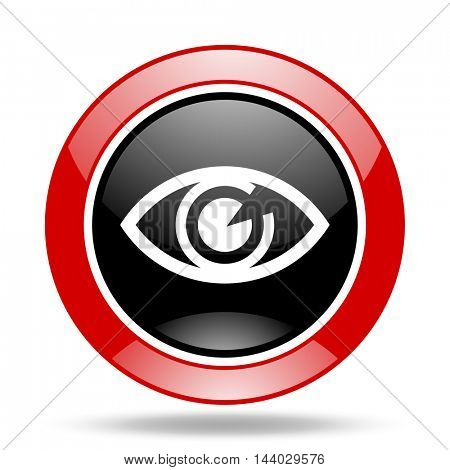 eye round glossy red and black web icon