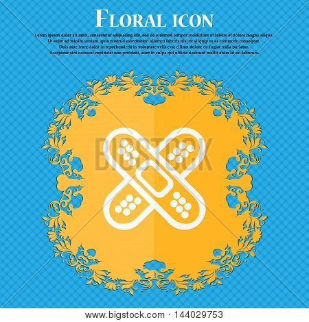 Adhesive Plaster Icon. Floral Flat Design On A Blue Abstract Background With Place For Your Text. Ve