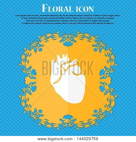 Human Heart Icon. Floral Flat Design On A Blue Abstract Background With Place For Your Text. Vector