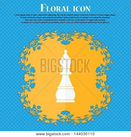 Chess Bishop Icon. Floral Flat Design On A Blue Abstract Background With Place For Your Text. Vector