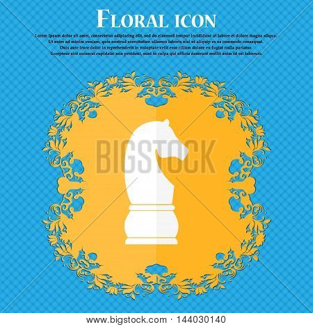 Chess Knight Icon. Icon. Floral Flat Design On A Blue Abstract Background With Place For Your Text.