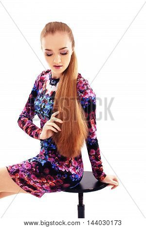girl with long hair on a white background