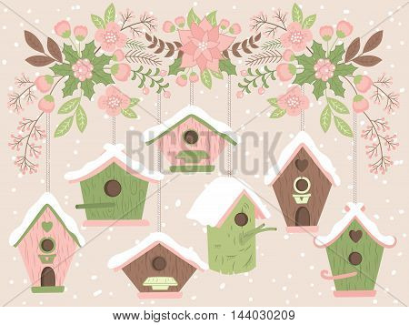 Vector Christmas birdhouses with flowers, berries, holly and leaves
