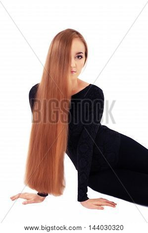 model with very long hair on isolated