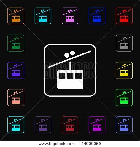 Cable Car Line Icon Sign. Lots Of Colorful Symbols For Your Design. Vector