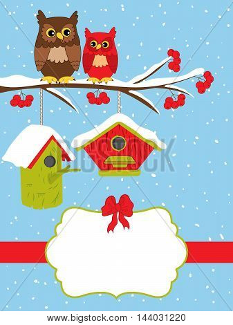 Vector Christmas card with owls on branch and birdhouses