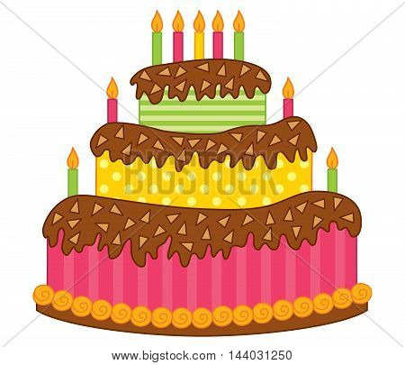 Vector birthday cake decorated with candles and chocolate