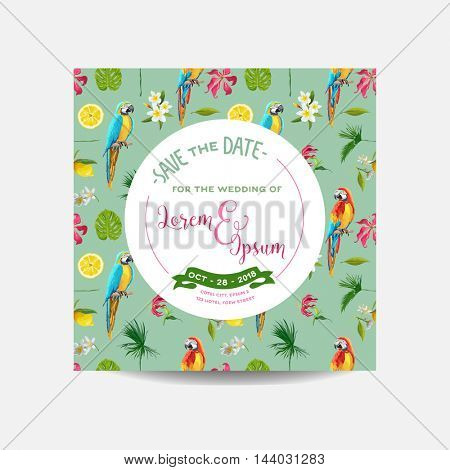 Save the Date Card. Tropical Flowers and Parrot Birds Background. Wedding Invitation Card. Vector