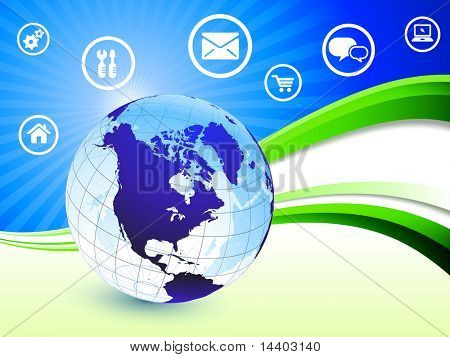 Globe on Abstract Wave Background with Internet Icons Original Illustration