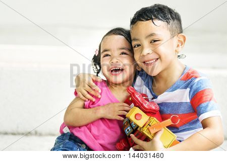 Brother Sister Girl Boy Kid Joy Playful Leisure Concept
