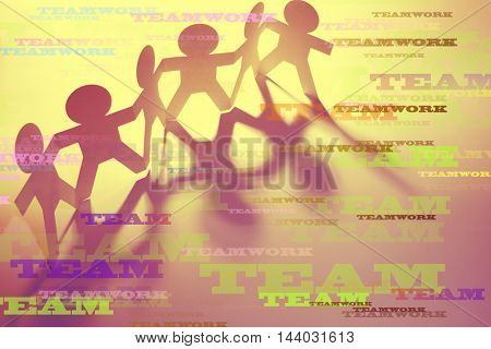 Team and teamwork words on paper doll people