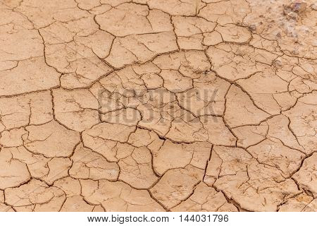 Clay of Dry cracked earth texture for background