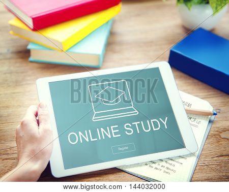 Online Education Graduation Cap Graphics Concept