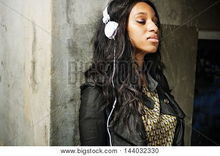 Girl Earphones Music Relax Outdoors Concept