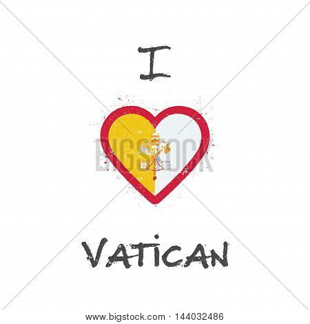 I Love Holy See (vatican City State) T-shirt Design. Italian Flag In The Shape Of Heart On White Bac