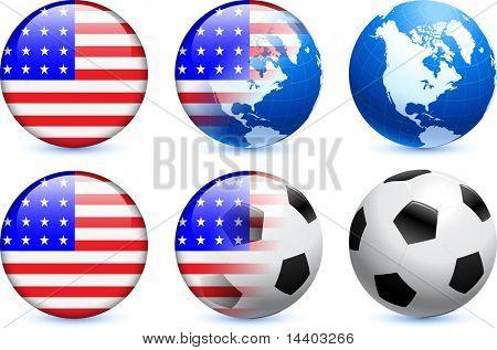 United States Flag Button with Global Soccer Event Original Illustration